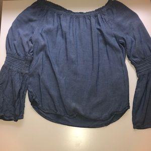 H&M denim colored blouse
